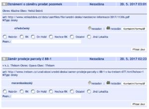ADOL úřední desky ukázka dat