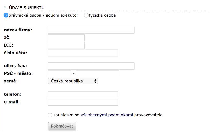 Registrační formulář právnické osoby