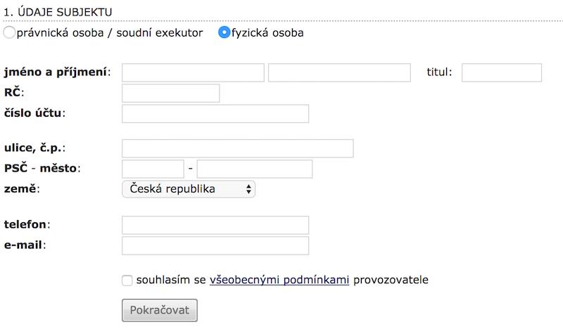 Registrační formulář fyzické osoby