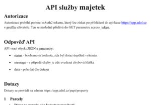 Ukázkaz ze zadávací dokumentace API Majetek