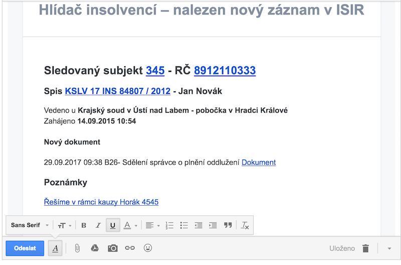 příklady e-mailů
