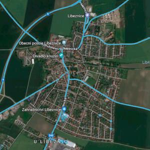 Ukázka pokrytí Streetview od Google - Líbeznice