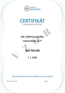 VZOR certifikátu ADOL školení