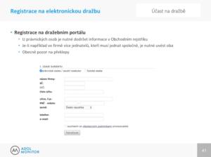ADOL školení dražby - ukázka registrace na dražbu