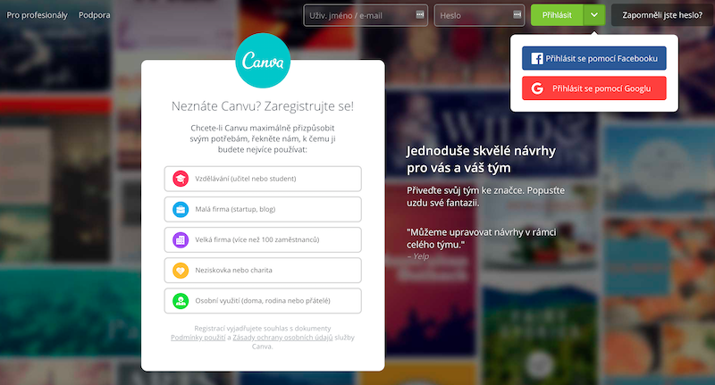 Registrace Canva