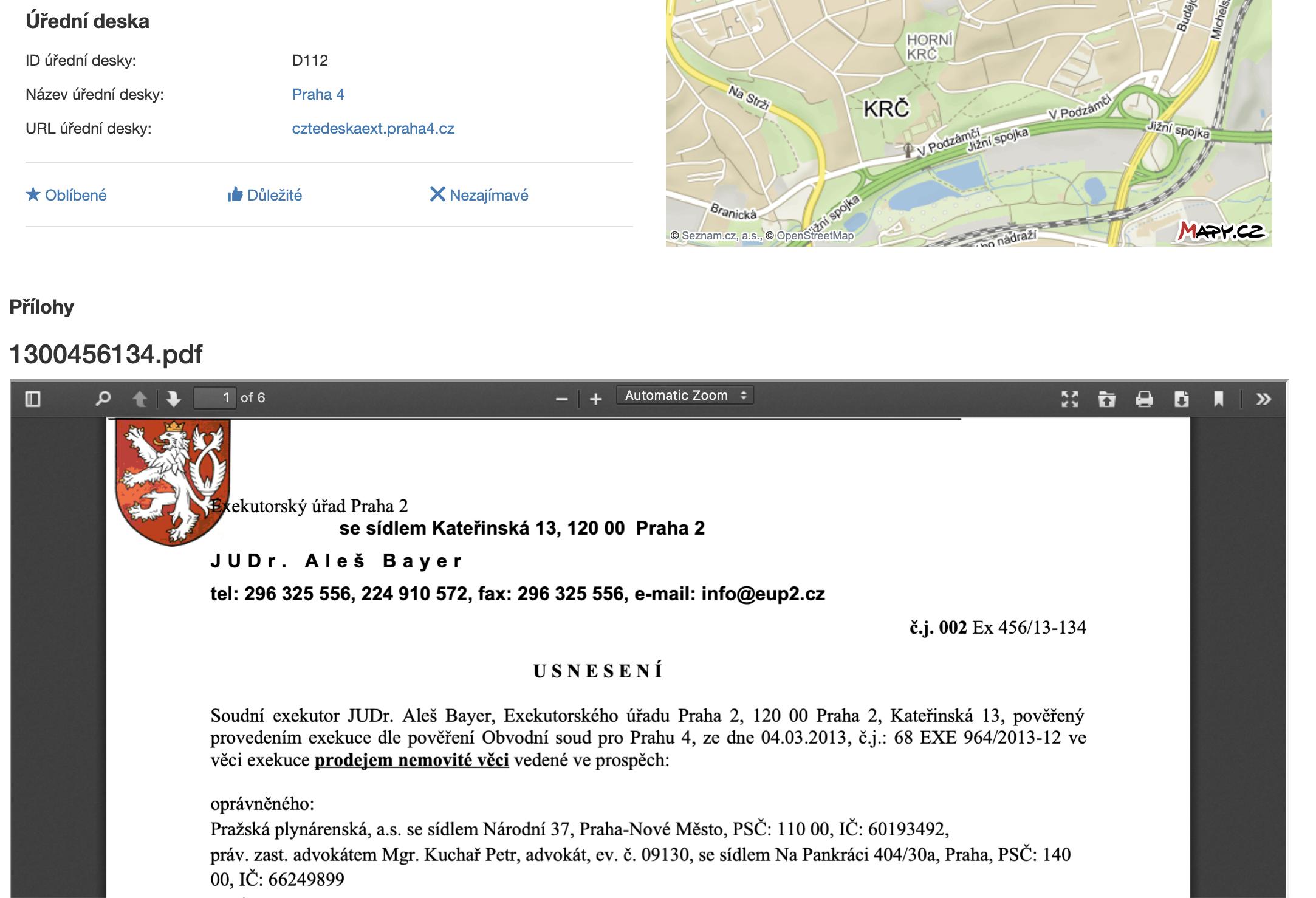 ADOL úřední desky - detail dokumentu