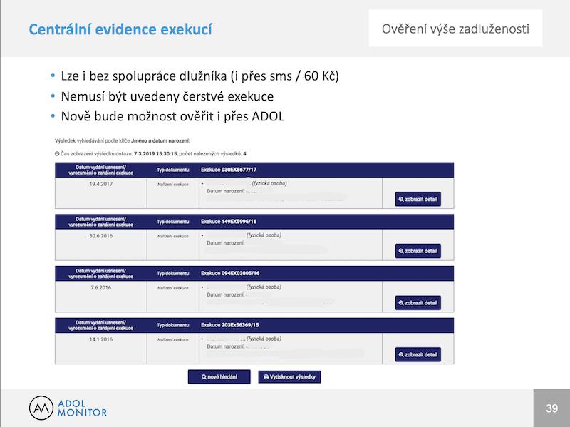 ADOL - seminář exekuce a oddlužování - centrální evidence exekucí - cee