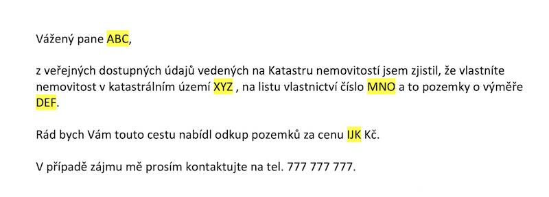 Hromadná korespondence - ukázka dopisu - ADOL