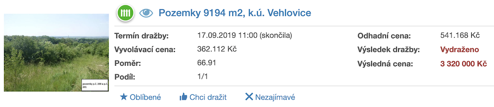 Dražba pozemky Vehlovice ADOL Monitor