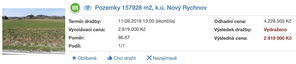 Dražba pozemků v k.ú. Nový Rychnov, ADOL Monitor ukázka
