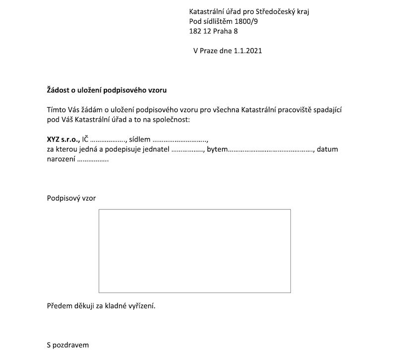 Podpisový vzor - žádost